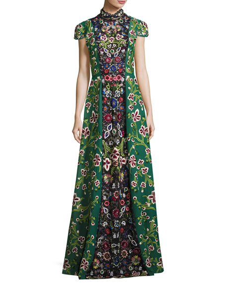 Alice + Olivia Nidia Embellished Mock-Neck Evening Gown