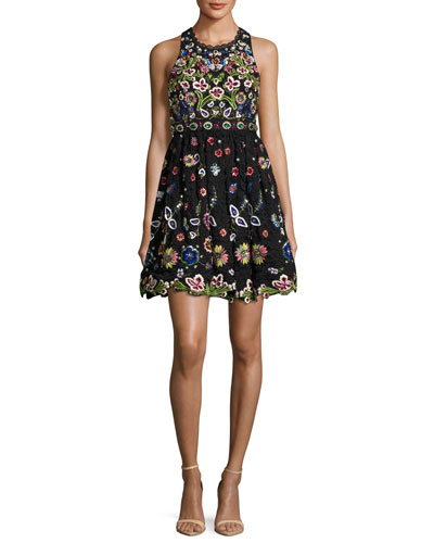 Talulah Embroidered Racerback Sleeveless Cocktail Dress