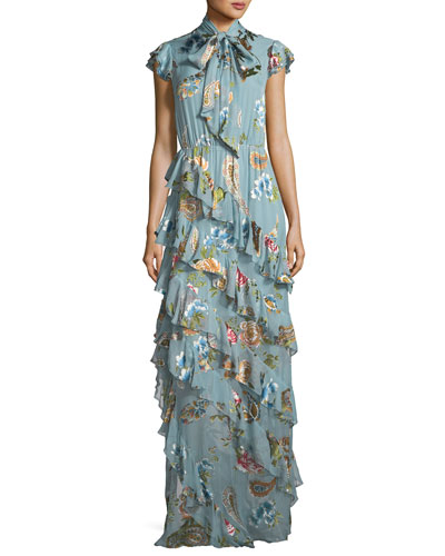Leslie Tie-Neck Burnout Ruffled Silk-Blend Maxi Dress