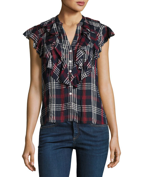 Finley Button-Front Ruffled Cap-Sleeve Plaid Shirt
