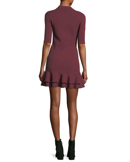 Aubrey High-Neck Fitted Mini Dress w/ Tiered Hem