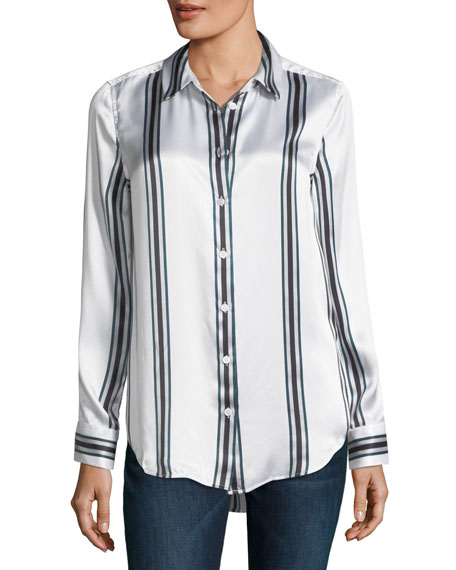 Essential Long-Sleeve Striped Silk Blouse