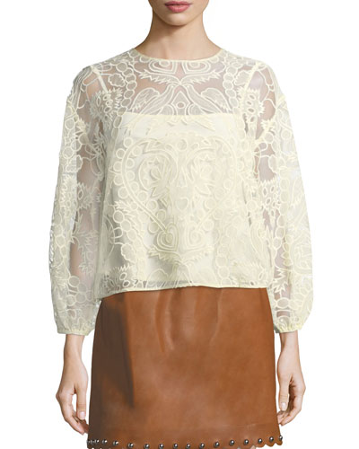 Ramage Embroidered Organza Tulle Blouse