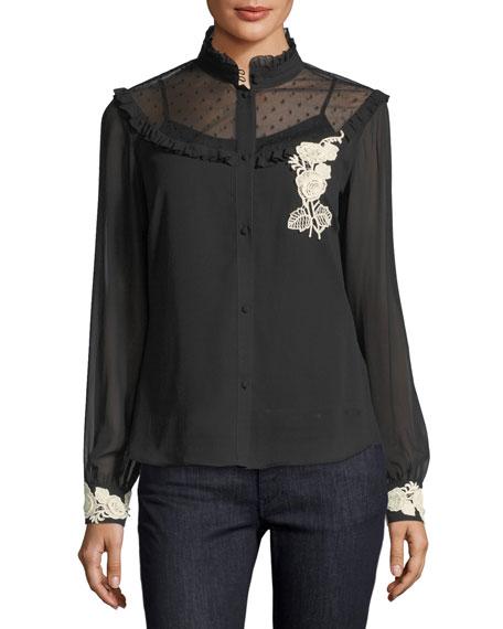 Long-Sleeve Blouse w/ Point d'Esprit & Floral Appliqué Trim