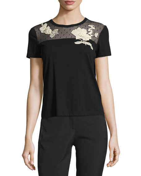 Cotton T-shirt w/ Point d'Esprit Yoke & Macrame Flower Patches