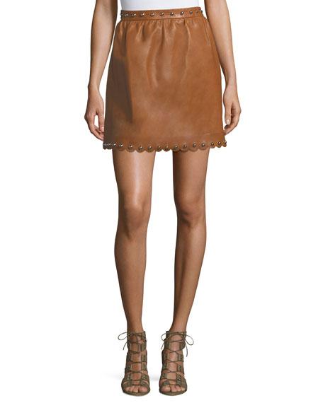 Studded Scalloped Lambskin Leather Skirt