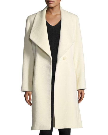 Belted Shawl-Collar Baby Suri Alpaca Wrap Coat
