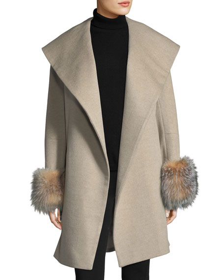 Fur-Cuff Open-Front Belted Wool-Cashmere Wrap Coat