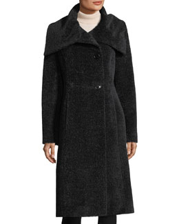 Envelope-Collar Wool Coat