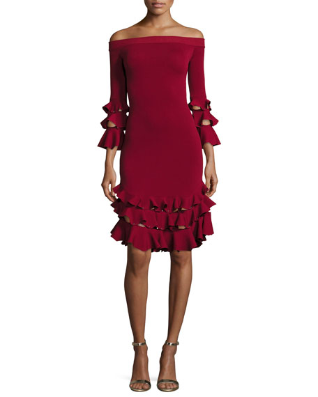 Off-the-Shoulder Slashed Knit Ruffled Midi Dress