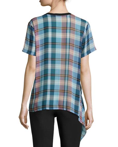 Niko Short-Sleeve Plaid Silk Top W/ Ruching
