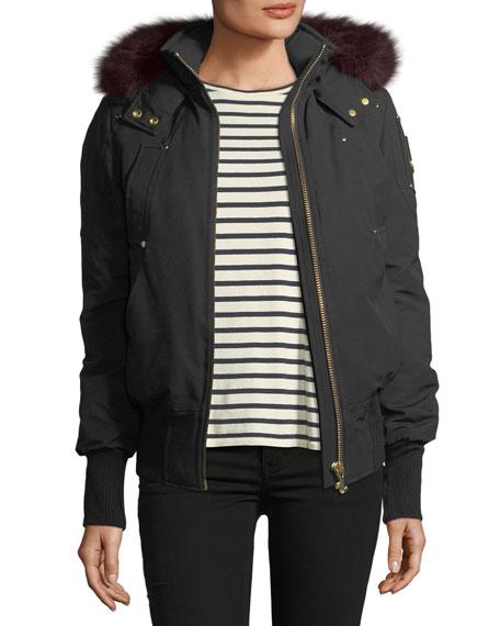 Latreille Zip-Front Bomber Jacket w/ Fur Collar