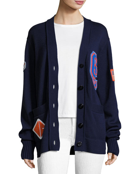 Opening Ceremony Varsity Wool-Knit Cardigan Sweater W/ Patch