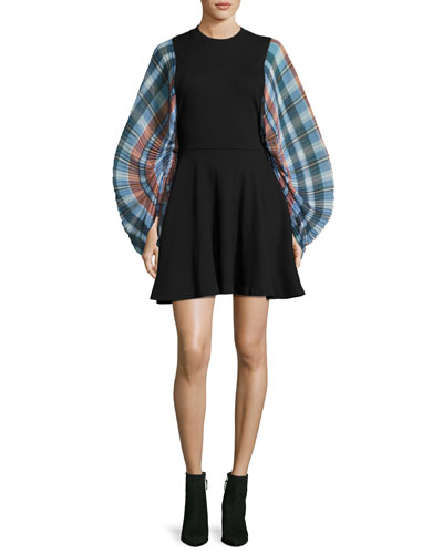 Fit-and-Flare Plaid-Sleeve Mini Dress