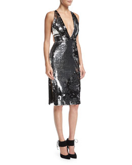 Camilla Plunging Sequin Open-Back Cocktail Dress