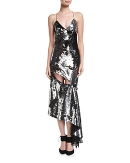 Fractured Sequin Sleeveless Bias-Cut Cocktail Slip Dress