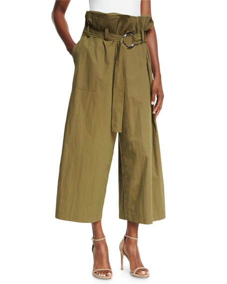 Tilly Paperbag-Waist Wide-Leg Cotton Trousers