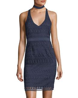 Drew V-Neckline Choker Lace Mini Dress