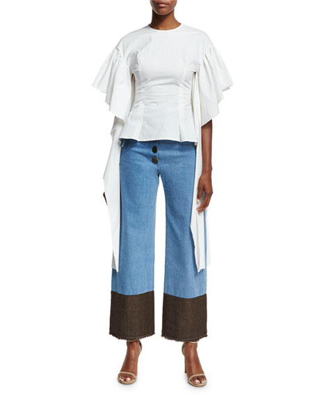 Emily Belted  High-Waist Button-Fly Wide-Leg Jeans