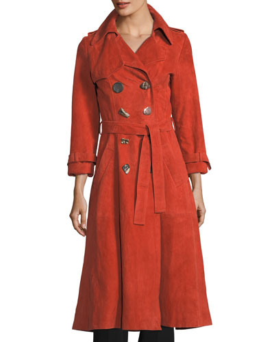 Kirsten Double-Breasted Suede Trench Coat