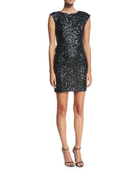 Knott Sequin Cap-Sleeve Cocktail Dress