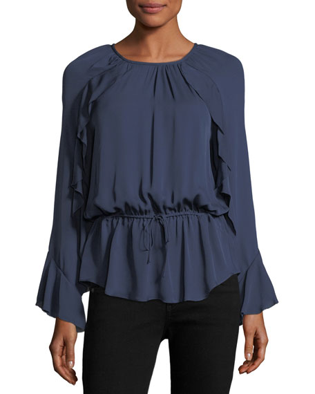 Arthurine Long-Sleeve Silk Blouson Top