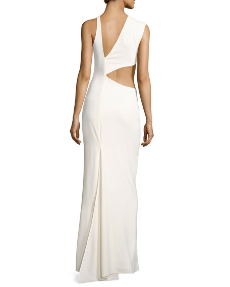 Asymmetric Sleeveless Cutout-Back Crepe Gown