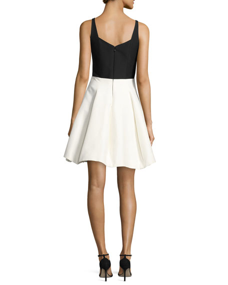 Sleeveless Geo-Neck Colorblocked Cocktail Dress