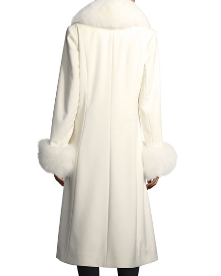 Long-Sleeve Fur Collar & Cuffs Wool-Cashmere Coat