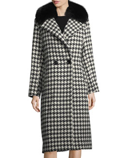Houndstooth Double-Breasted Alpaca-Wool Coat w/ Fur Trim
