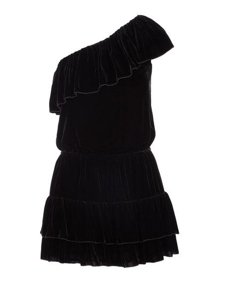 Kolda B One-Shoulder Velvet Dress