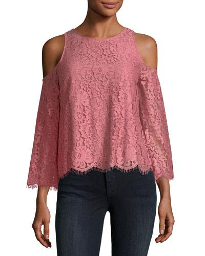 Abay Lace Cold-Shoulder Top