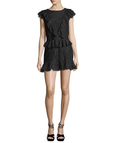 Acostas Ruffled Lace Mini Dress