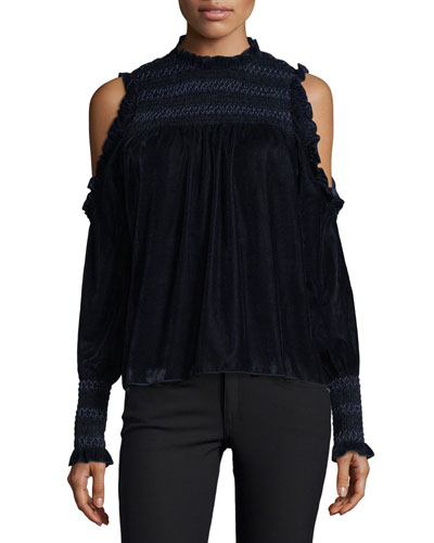 Aneisha Mock-Neck Cold-Shoulder Velvet Top