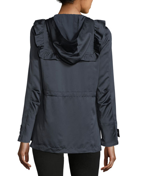 Ramius Zip-Front Hooded Satin Jacket