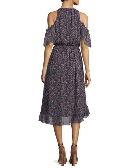 Agnek Split-Neck Cold-Shoulder Printed Silk Dress