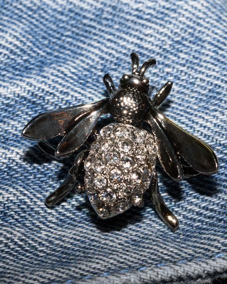 Redmondia Cropped Denim Jacket w/ Jeweled Pins