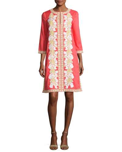 Embroidered 3/4-Sleeve Tunic Dress