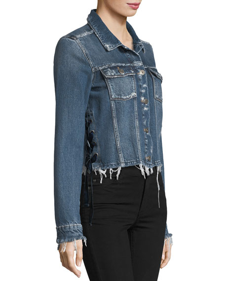Villa Tie-Side Distressed Cropped Denim Jacket