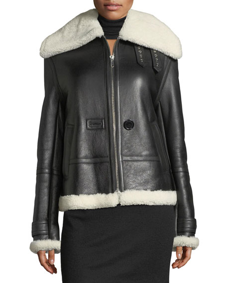 Aviator Zip-Front Shearling/Leather Jacket