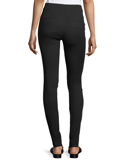 Mid-Rise Fitted Zip-Cuffs Stretch Wool Pants