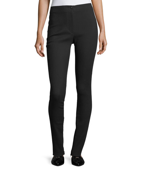 Helmut Lang Mid-Rise Fitted Zip-Cuffs Stretch Wool Pants