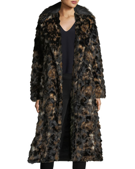 Tortoise Faux-Fur Shawl-Collar Belted Coat w/ Faux-Leather Trim