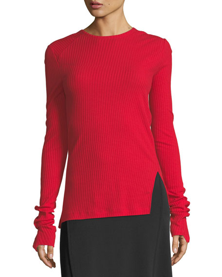 Deconstructed Long-Sleeve Ribbed-Knit Sweater