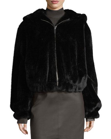 Hooded Faux-Fur Bomber Jacket