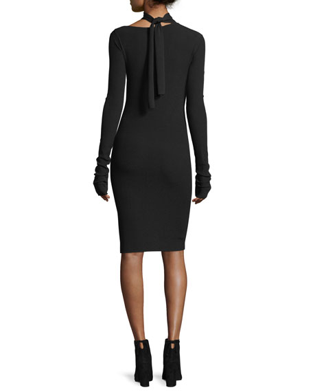 Tieback Long-Sleeve Fitted Sweater Dress