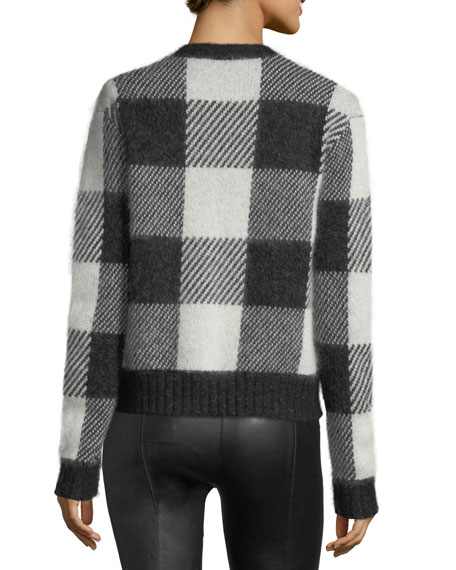 Check-Block Jacquard Oversized Wool-Blend Sweater