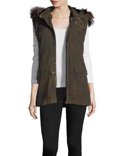 Canvas Cargo Vest w/Fur Trim