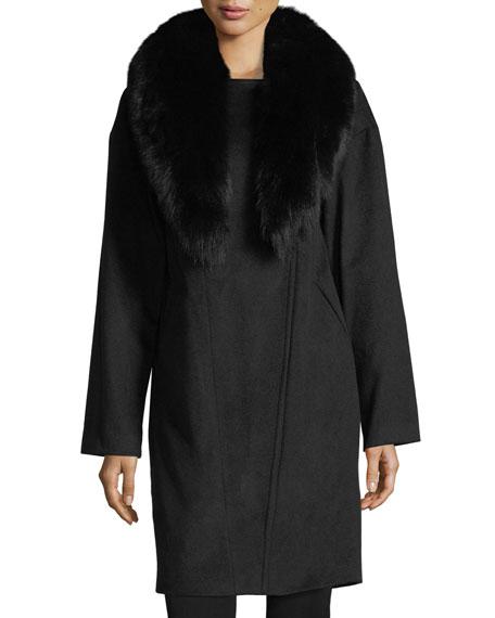 Belle Fare Cashmere Coat w/Detachable Fox Fur Collar