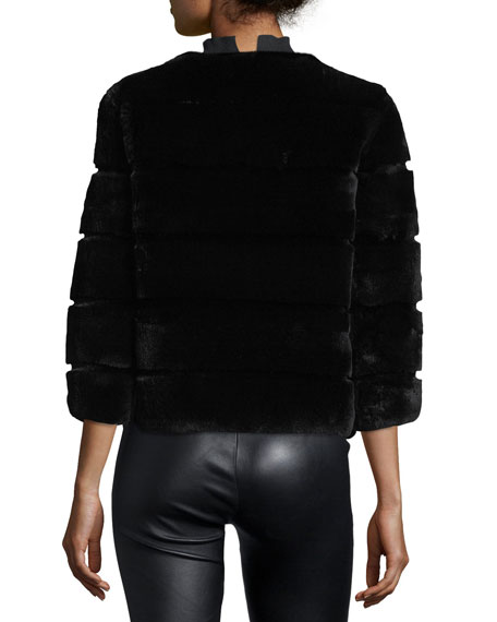 Hook-Front Rabbit Fur Jacket